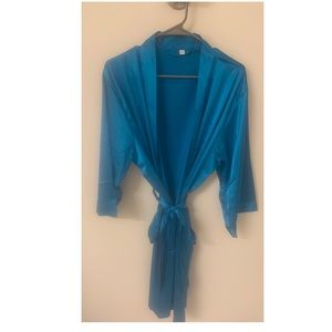 Teal silk robe